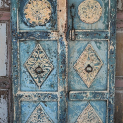 Antique Painted Door with Decorative Carvings, Gujarat circa 1890 <b>SOLD<b>